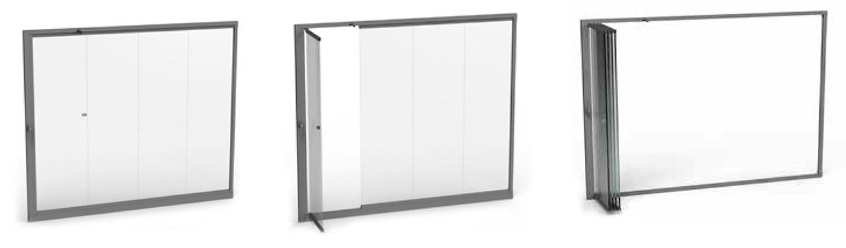 sistema di chiusura apertura delle vetrate a pacchetto