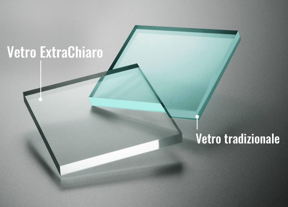 vetro extrachiaro differenza con vetro tradizionale
