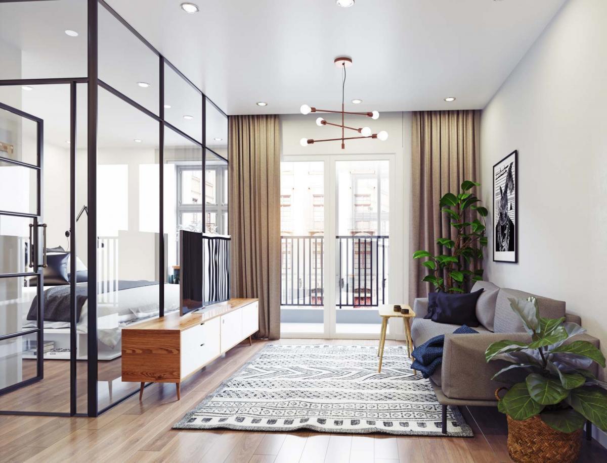 camera da letto con parete divisoria in vetro con infissi neri