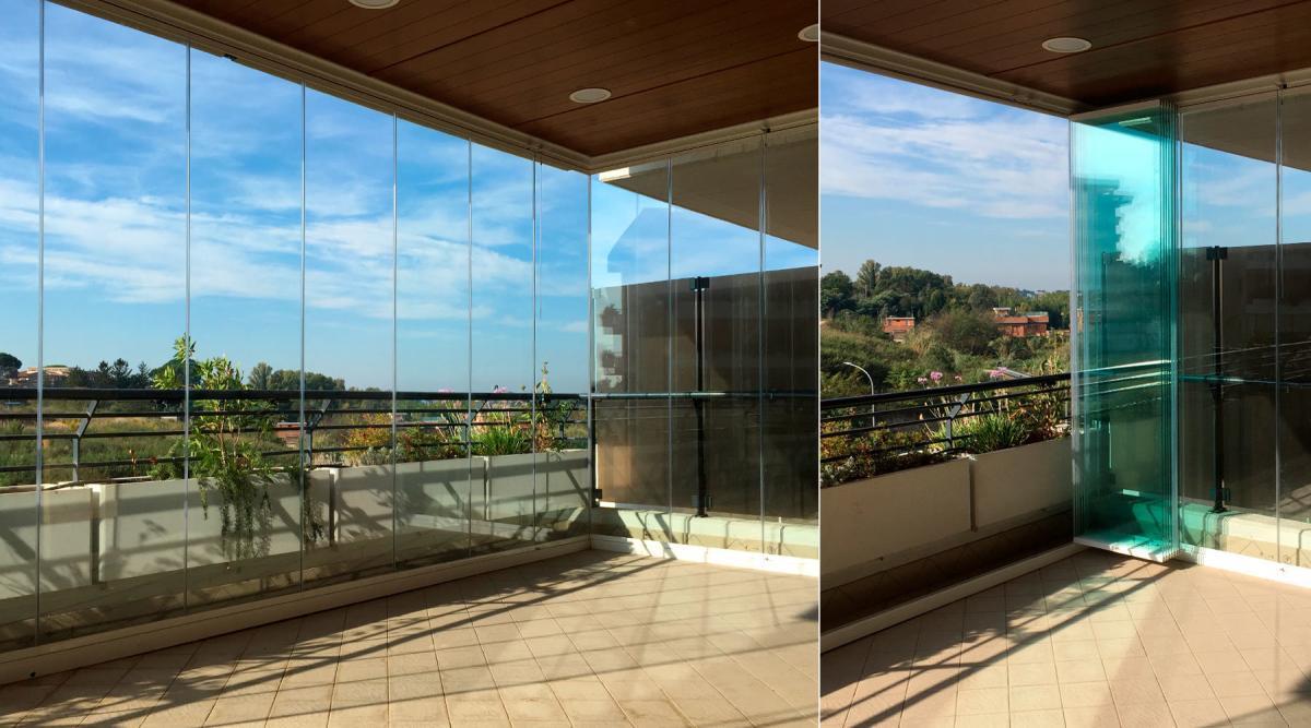 vetrata a pacchetto aperta e chiusa