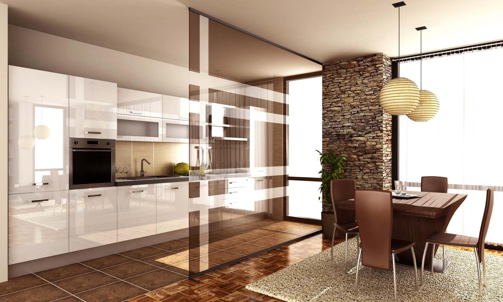 vetrata da interno divide la cucina dal solotto